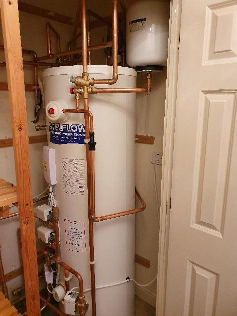Unvented cylinder installation in Kings Hill, Kent.